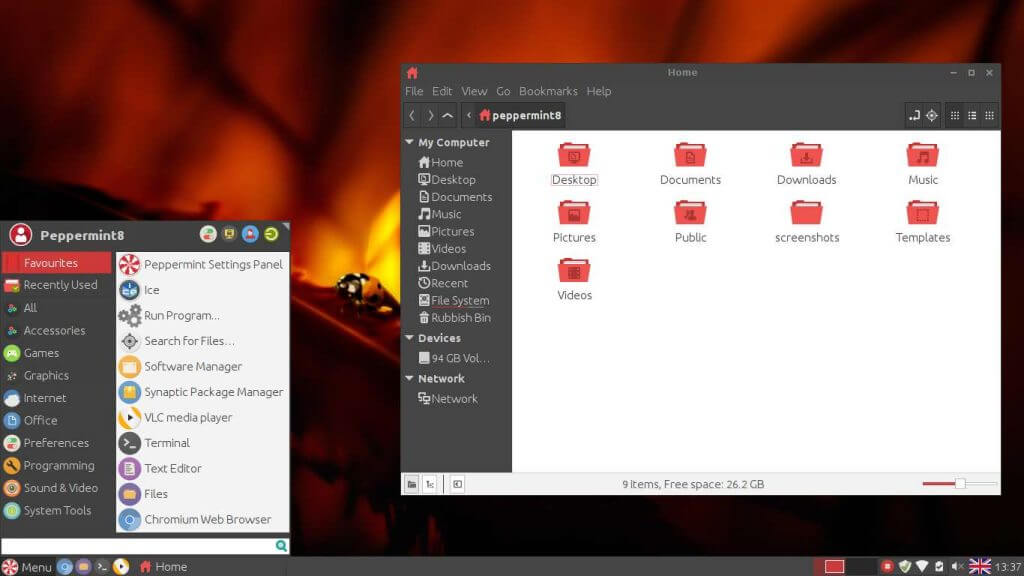 Peppermint OS 8 with theme Light GTK and Numix Icons