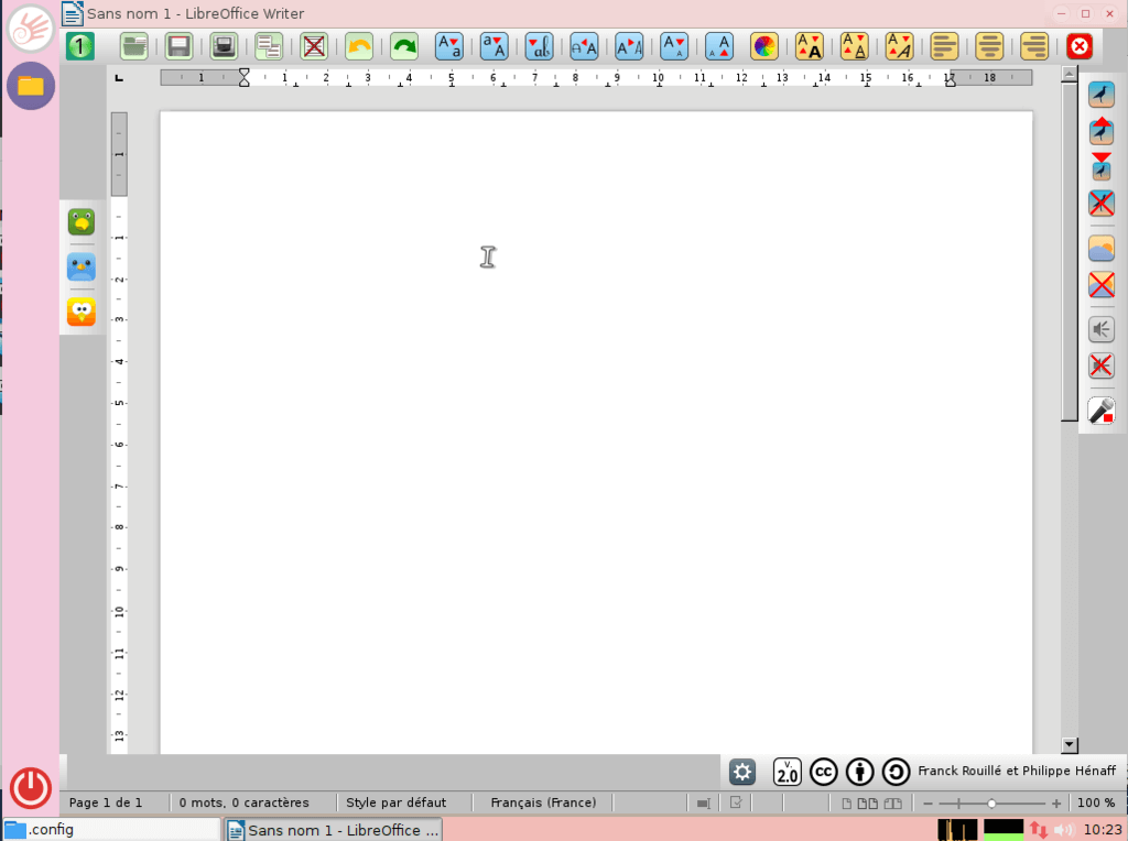 PrimTux 中的简化 LibreOffice 界面的截图