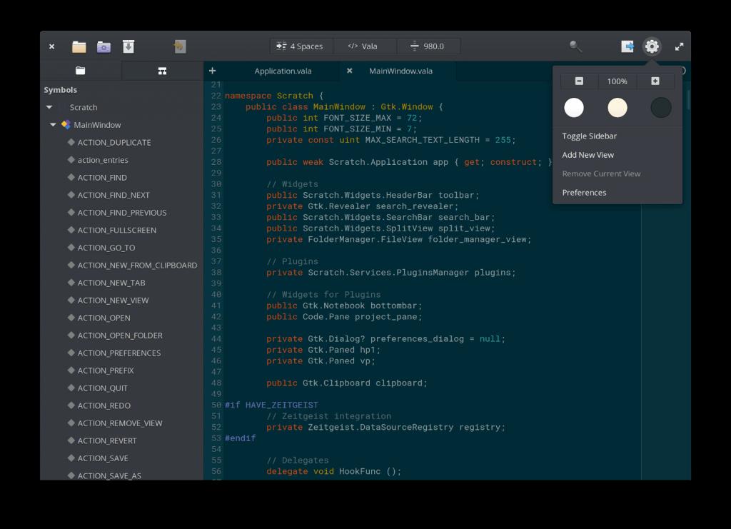 elementary OS - Code editor