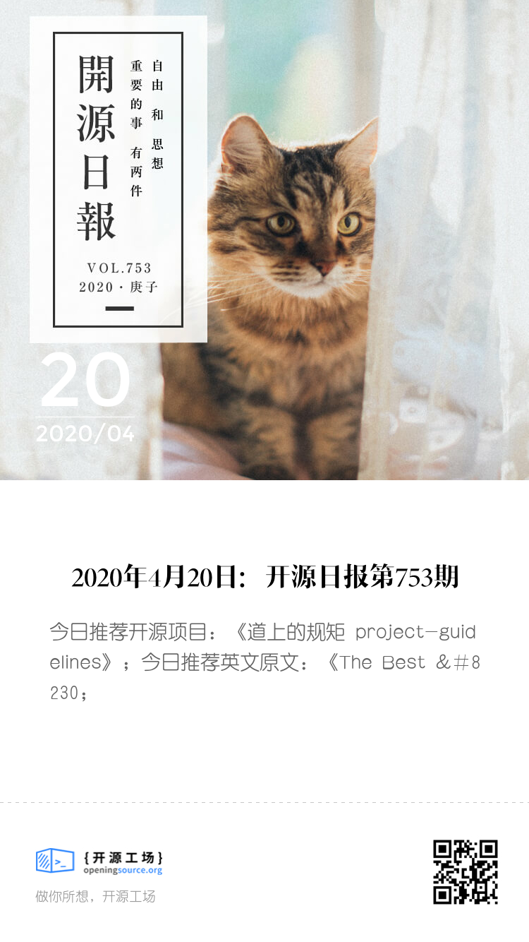开源日报第753期:《道上的规矩 project-guidelines》 bigger封面