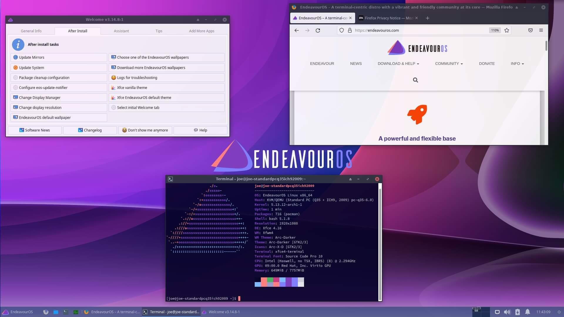 以终端为核心的 Arch 发行版,EndeavourOS 2021.08.27 发布